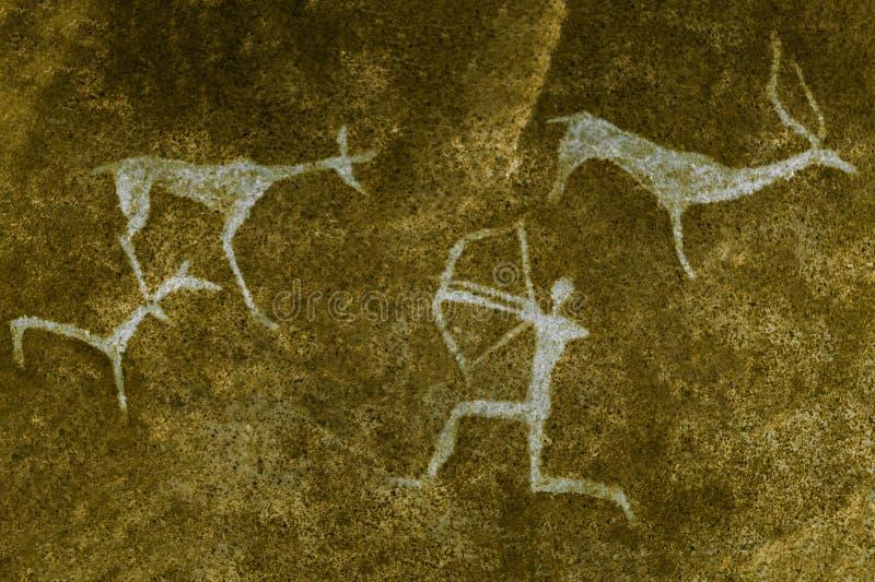 Imagem da caça na parede da caverna ilustração royalty free
