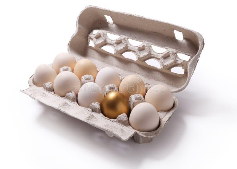 Imagem da caixa de cartão com os ovos e o um ovo dourado isolados sobre imagem de stock