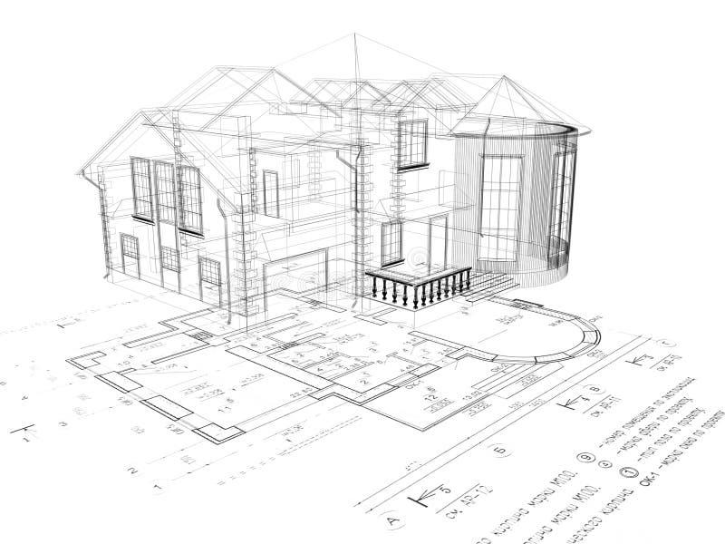 A imagem da casa 3D na planta ilustração stock