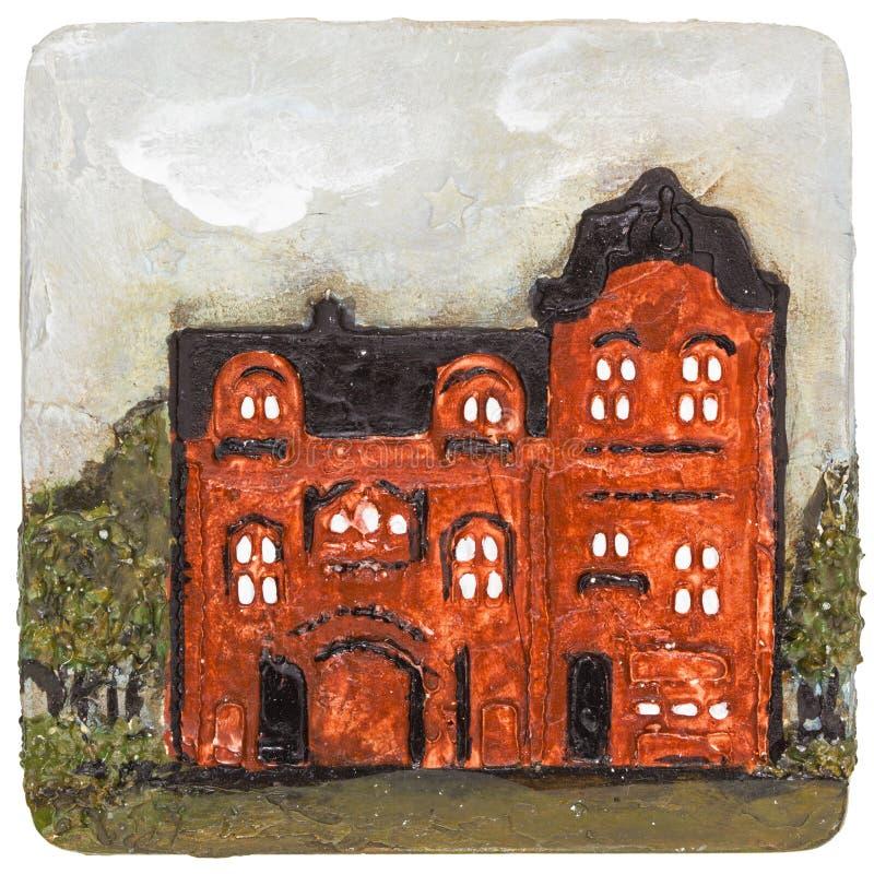 Imagem da casa, executada ao estilo da pintura volumétrico, isolada ilustração royalty free