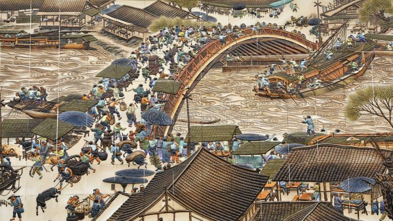 A imagem da cena do beira-rio no? do festival de Qingming foto de stock royalty free