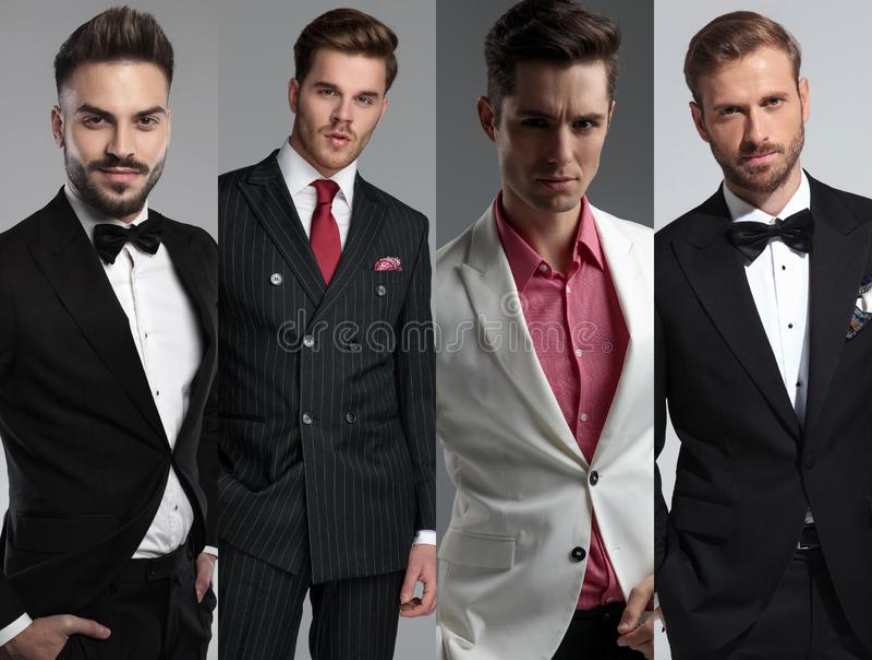 Imagem da colagem de quatro retratos diferentes dos homens modernos fotografia de stock royalty free
