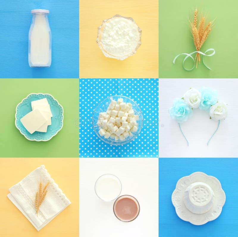 Imagem da colagem da vista superior dos produtos láteos Símbolos do feriado judaico - Shavuot fotos de stock royalty free