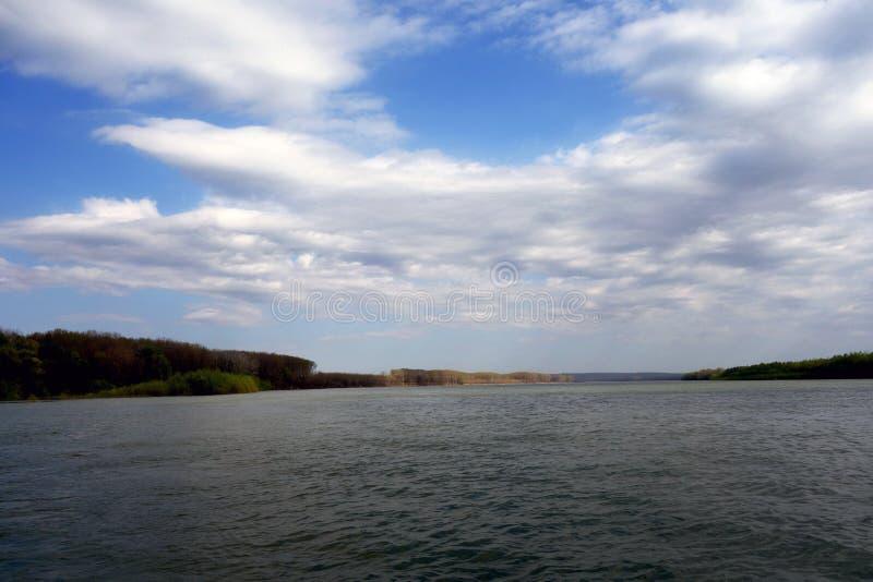 Imagem da coleção, o Danube River no quilômetro 364.363.362.361.360, 1 fotos de stock