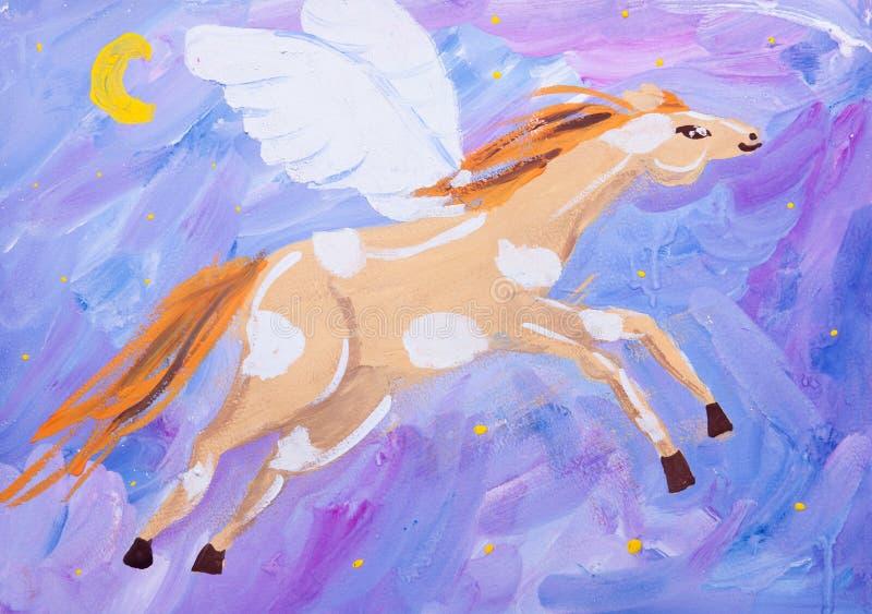 Imagem da criança do cavalo do fling ilustração do vetor