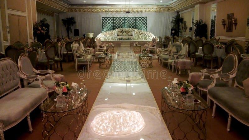 Imagem da decoração do salão do partido de acoplamento para cada local de encontro imaginável imagens de stock royalty free