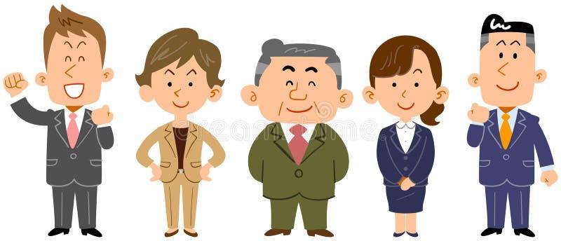 A imagem da equipe de uma pessoa do negócio, trabalhadores ilustração do vetor