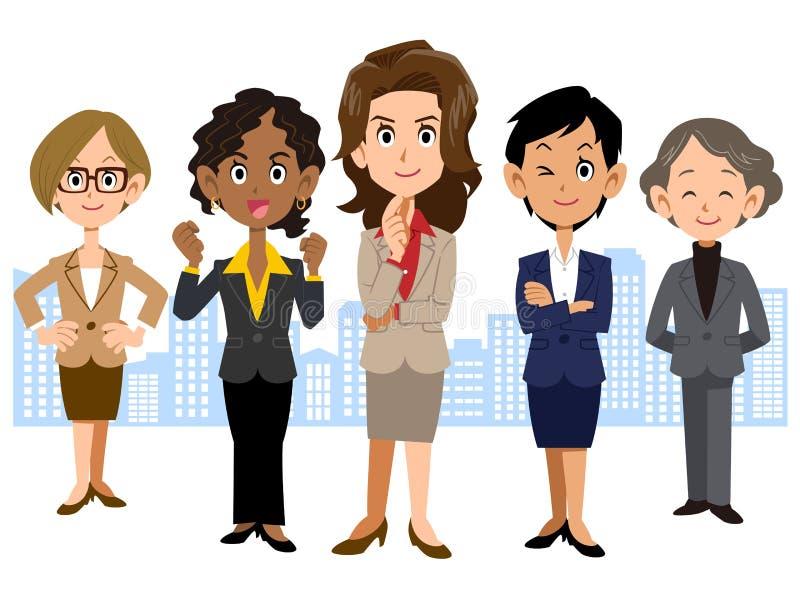 A imagem da equipe do negócio de 5 mulheres ilustração royalty free