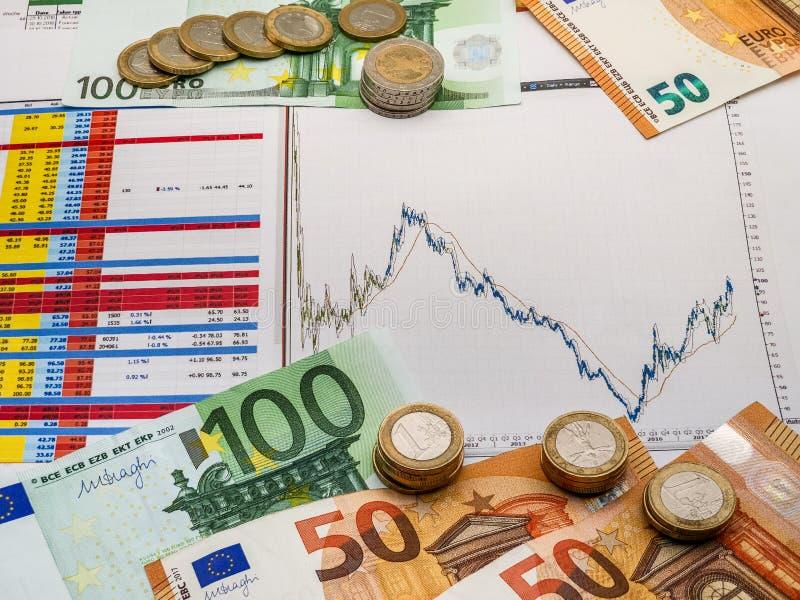 Imagem da estratégia de investimento do dinheiro com moedas e contas do euro imagem de stock