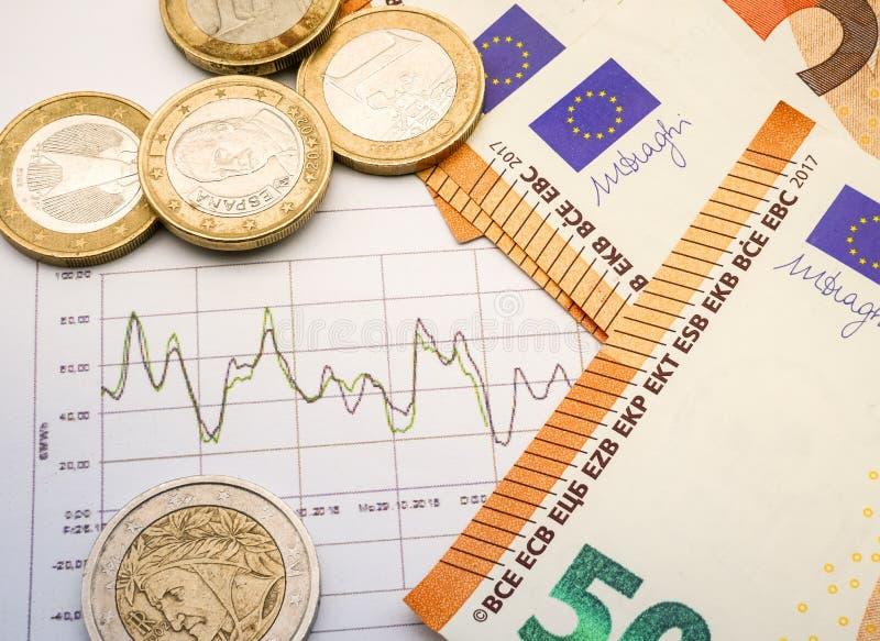 Imagem da estratégia de investimento do dinheiro com moedas e contas do euro fotografia de stock