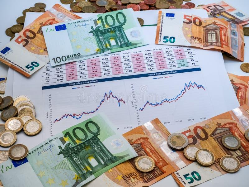 Imagem da estratégia de investimento do dinheiro com moedas e contas do euro foto de stock royalty free