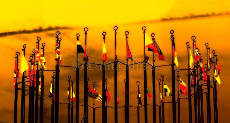 Imagem da fantasia com bandeiras fotografia de stock royalty free