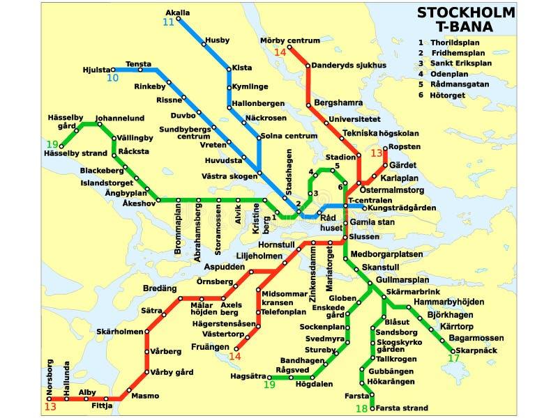 Imagem da ilustração de um mapa do metro de Éstocolmo ilustração royalty free