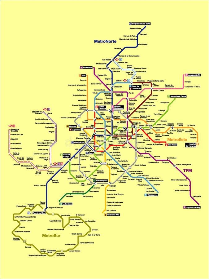 Imagem da ilustração de um mapa do metro do Madri ilustração royalty free