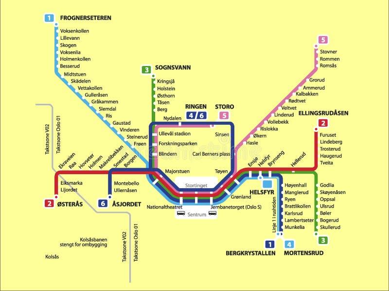 Imagem da ilustração de um mapa do metro de Oslo ilustração royalty free