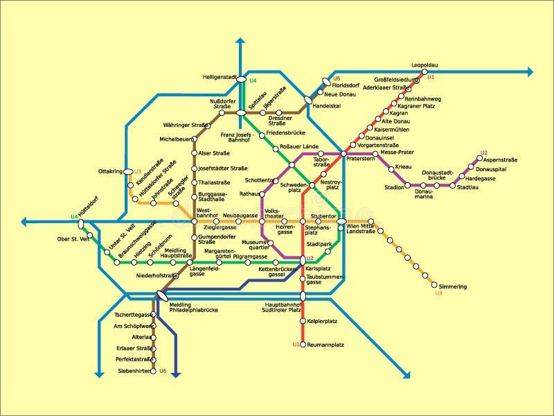 Imagem da ilustração de um mapa do metro de Viena ilustração royalty free