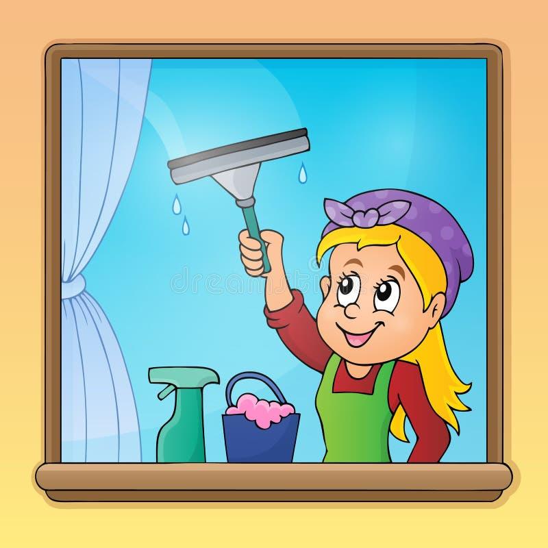 Imagem 1 da janela da limpeza da mulher ilustração do vetor