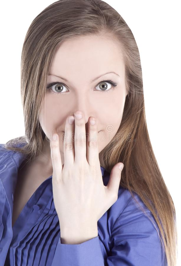 A imagem da jovem mulher com cede a boca fotos de stock