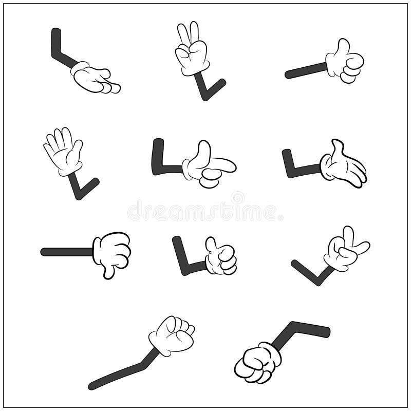 Imagem da mão humana das luvas dos desenhos animados com grupo do gesto do braço Ilustração do vetor no fundo branco ilustração stock