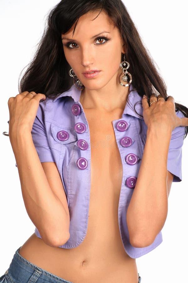 Imagem da moça bonita na opinião dianteira 'sexy' de roupa ocasional imagens de stock royalty free