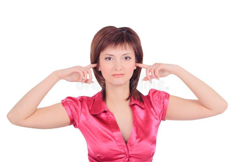 Imagem da mulher com mãos nas orelhas imagens de stock