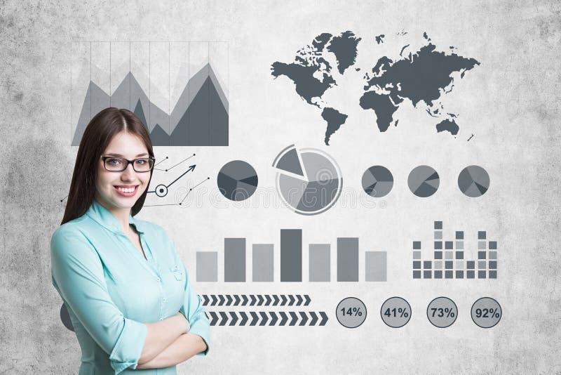Imagem da mulher de negócios no gráfico cinzento do desenho do terno imagem de stock royalty free