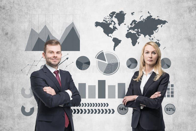 Imagem da mulher de negócios no gráfico cinzento do desenho do terno foto de stock royalty free