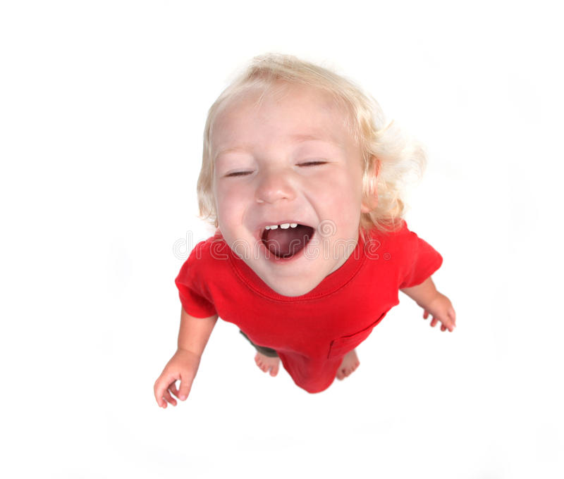 Imagem da opinião superior de Fisheye de um menino novo da criança foto de stock