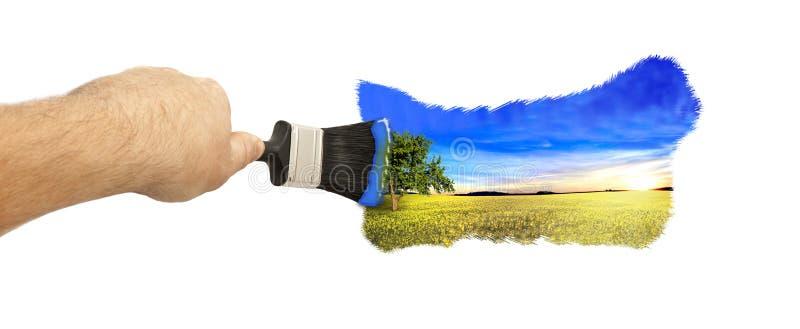 Imagem da pintura com uma escova ilustração do vetor