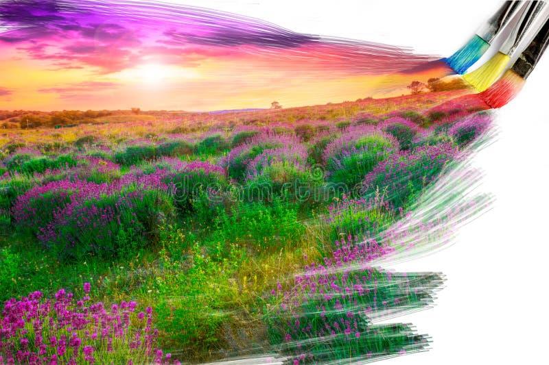 Imagem da pintura da escova do artista imagens de stock