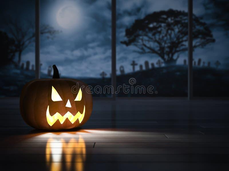 imagem da rendição 3d da cabeça do pumpkind na sala escura ilustração royalty free