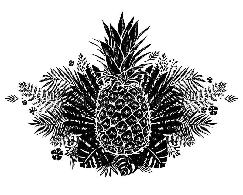 Imagem da rotulação preto e branco do fruto do abacaxi exótica no fundo Ilustração do vetor, elemento do projeto para ilustração royalty free