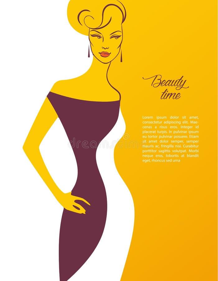 Imagem da silhueta da mulher bonita ilustração royalty free