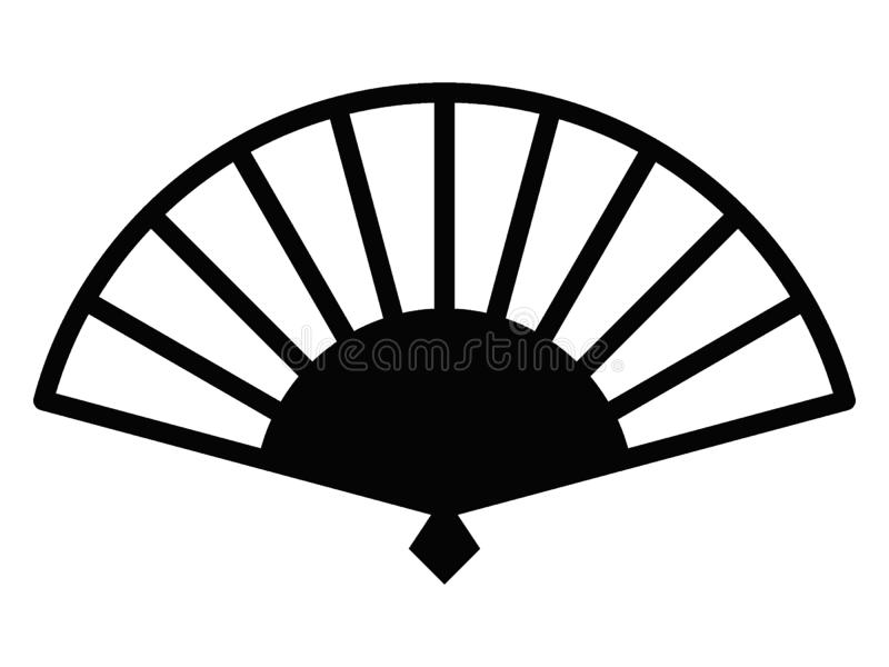 Imagem da silhueta de um símbolo japonês de um fã manual ilustração stock