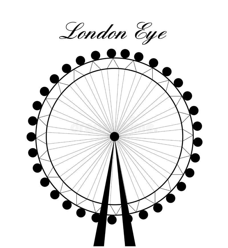 Imagem da silhueta do olho de Londres dos desenhos animados com sinal Ilustração do vetor isolada no fundo branco ilustração royalty free