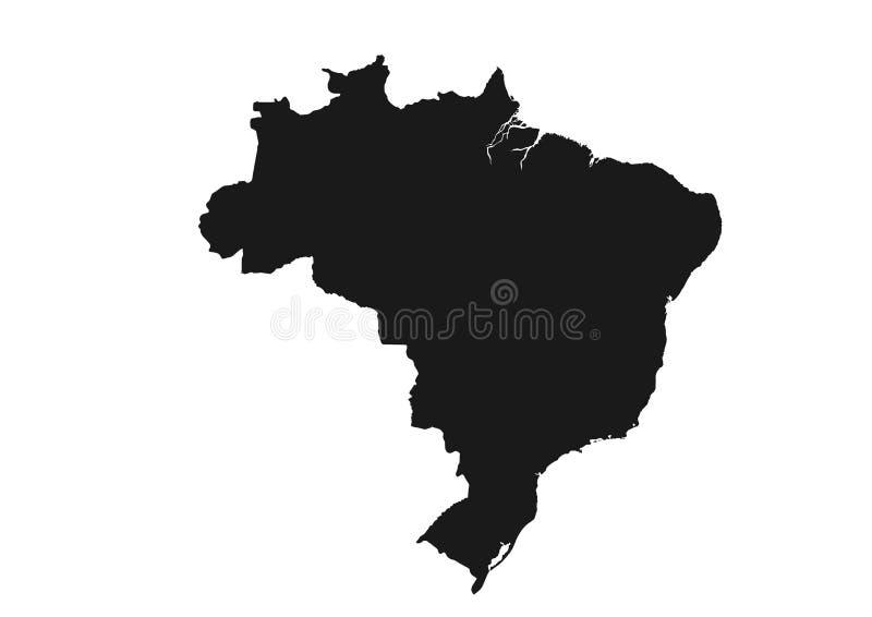 Imagem da silhueta do preto do ícone do mapa de Brasil do país de Ámérica do Sul ilustração stock