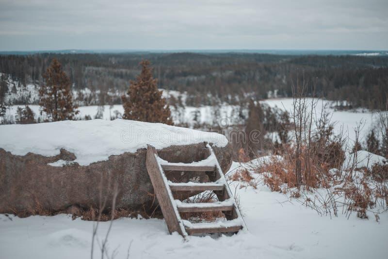 Imagem da vista geral da paisagem do inverno da parte superior da montanha Grotta de Singoallas na Suécia foto de stock