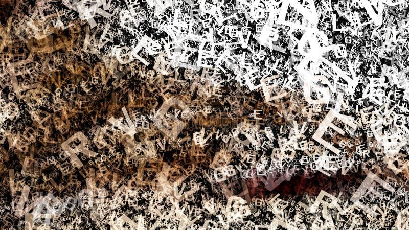 Imagem de Brown e de Grey Chaotic Letters Texture Background ilustração do vetor