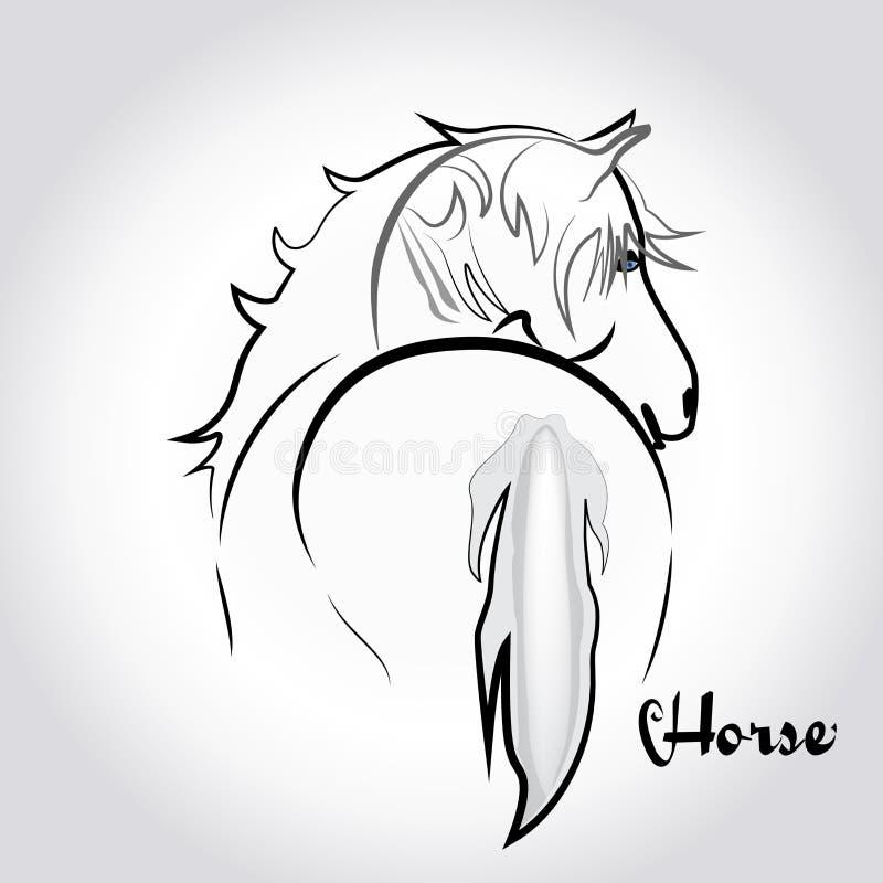 Imagem de cartão da identificação do projeto da ilustração do vetor do ícone da silhueta do cavalo do logotipo ilustração royalty free
