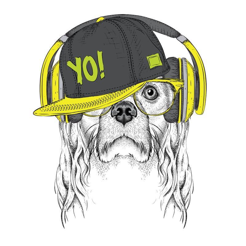 A imagem de cocker spaniel nos vidros, fones de ouvido e no chapéu do hip-hop Ilustração do vetor ilustração do vetor