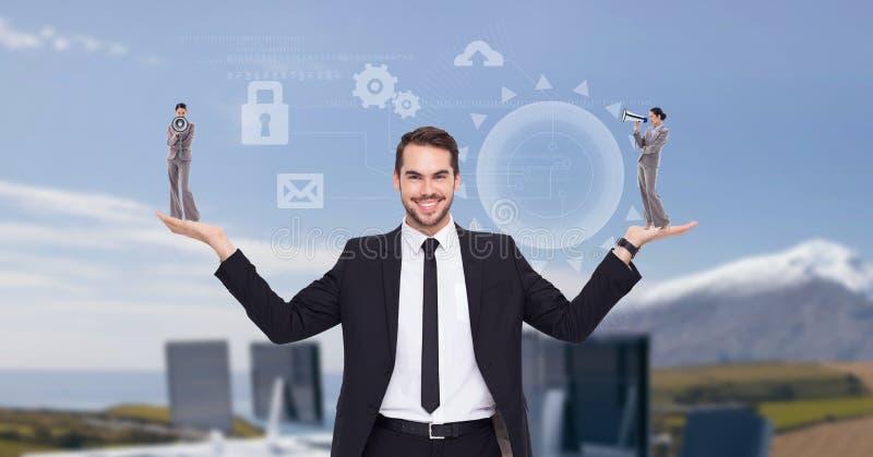 Imagem de Digitas da mulher de negócios levando do homem de negócios com símbolos ao estar contra os computadores ilustração royalty free