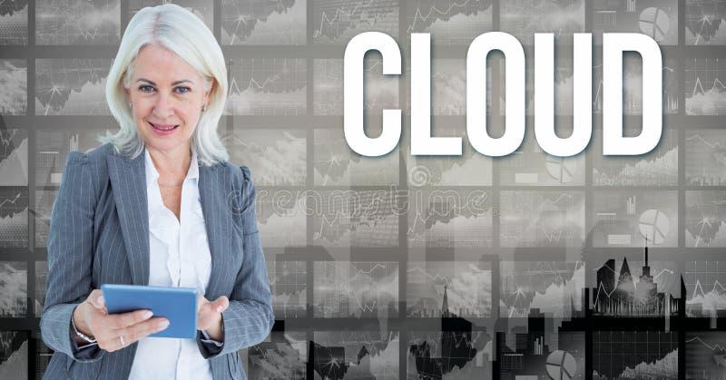 Imagem de Digitas da mulher de negócios que guarda o livro que está pelo texto da nuvem contra gráficos ilustração royalty free
