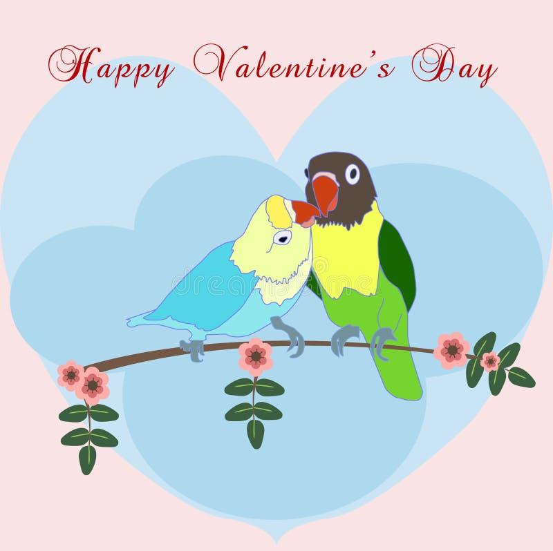Imagem de dois papagaios no amor ilustração do vetor