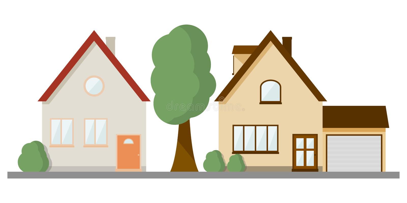 A imagem de duas casas privadas diferentes da dois-história na mesma linha Ilustra??o do vetor no fundo branco ilustração stock