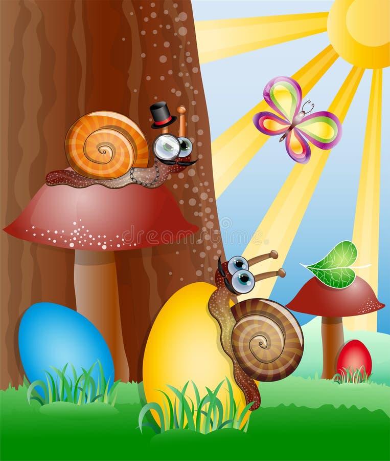 Imagem de Easter com caracóis. ilustração do vetor