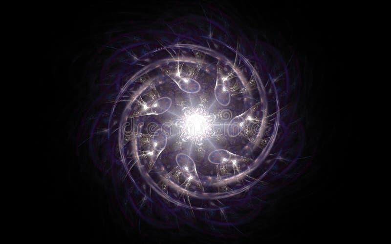 Imagem de fundo abstrata de uma estrela fantástica de gerencio com raios brancos e torções espirais da cor lilás ao redor em um p ilustração stock