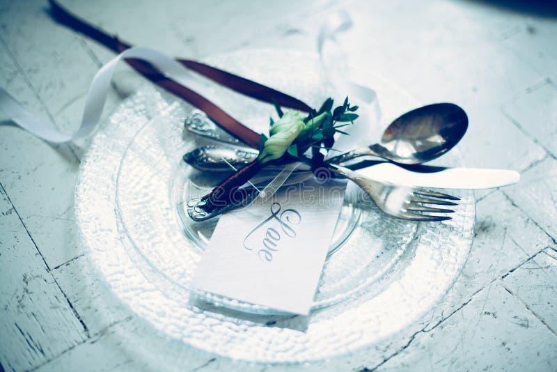 Imagem de fundo de Cutlery e convite a um Banquet fotografia de stock royalty free