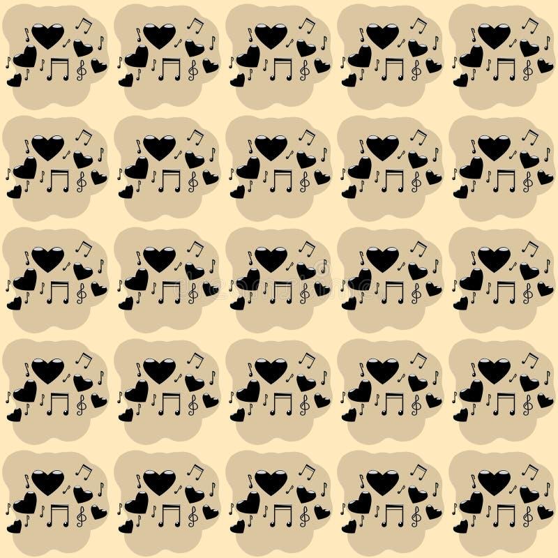 Imagem de fundo da ilustração do vetor de cinco corações com símbolos musicais, notas, clave de sol da cor preta com destaqu ilustração stock
