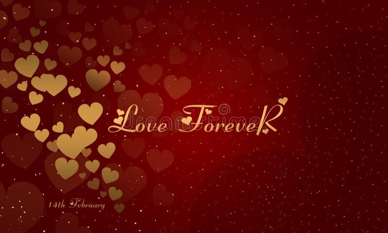 Imagem de fundo do dia de Valentim Cart?o do amor Day Rosa vermelha Amor para sempre ilustração stock