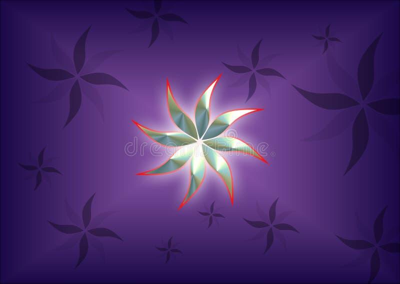 Imagem de fundo gerada por computador colorida e iluminada da flor de 3 d ilustração stock